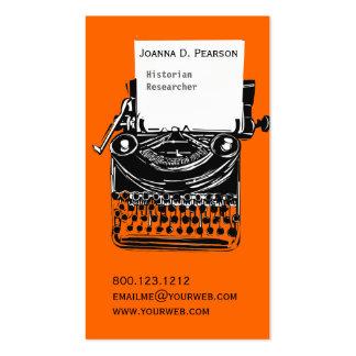 Konstnärlig skrivmaskinsförfattare för vintage visit kort