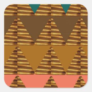 KONSTNÄRLIG triangelKONST: Färgrik tygLookPatter Fyrkantigt Klistermärke