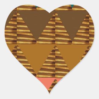 KONSTNÄRLIG triangelKONST: Färgrik tygLookPatter Hjärtformat Klistermärke