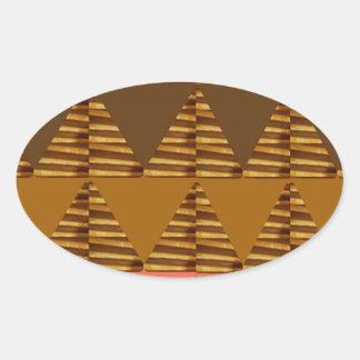 KONSTNÄRLIG triangelKONST: Färgrik tygLookPatter Ovalt Klistermärke