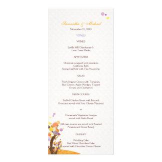 Konstnärliga menyer för trädtemabröllop