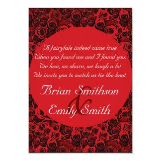 Konstnärliga ro för röd svart vit som gifta sig 12,7 x 17,8 cm inbjudningskort