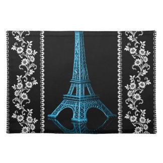 Konstnärligt Eiffel torn med blom- gränser Bordstablett