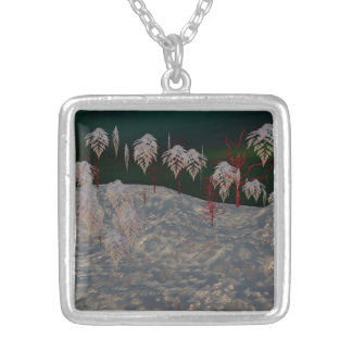 Konstnärligt vinterunderlandhalsband silverpläterat halsband