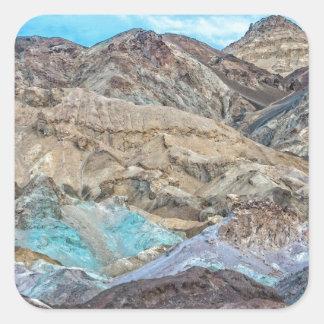 (Konstnärs palett) den Death Valley nationalparken Fyrkantigt Klistermärke