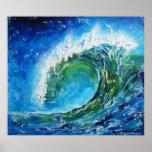Konstoljemålning för © P Wherrell vinkar havhavet Affisch