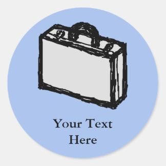Kontorsportföljen eller reser resväska skissar. runt klistermärke