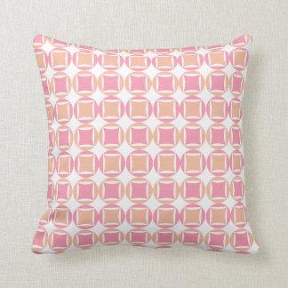 Kontroller & cirklar i orange- och rosamönster kudde