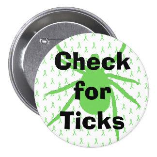 Kontrollera för fästingar, den Lyme sjukdom Mellanstor Knapp Rund 7.6 Cm