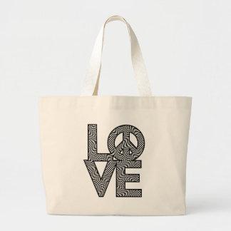 Kontrollera snedvrider LOVE=Peace Jumbo Tygkasse