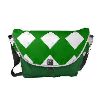 Kontrollerade grönt och vit kurir väskor
