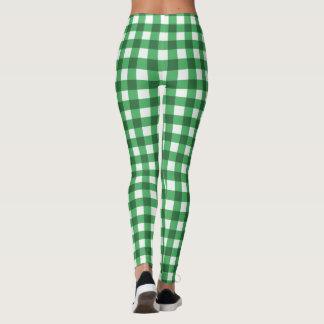 Kontrollerat mönster för grönt- och vitGingham Leggings