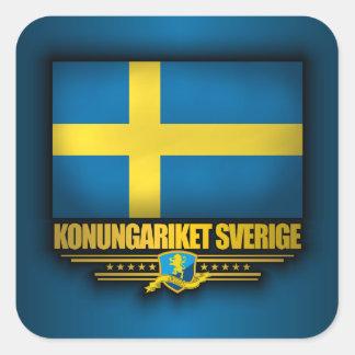 Konungariket Sverige Fyrkantigt Klistermärke