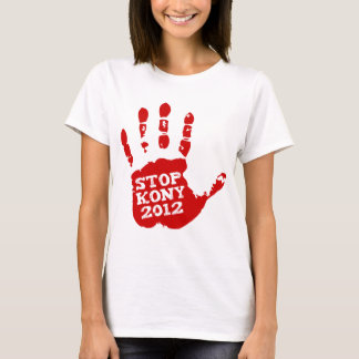 Kony 2012 röda Handprint stopp Joseph Kony T-shirt