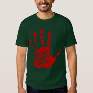 Kony 2012 röda Handprint stopp Joseph Kony Tshirts