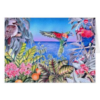 Kookaburra och regnbåge Lorikeets Hälsningskort