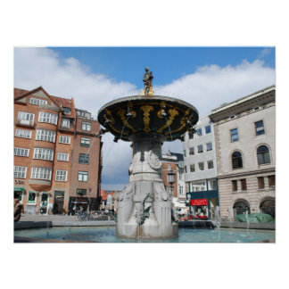 Köpenhamn Danmark Caritas väl fontän Affisch