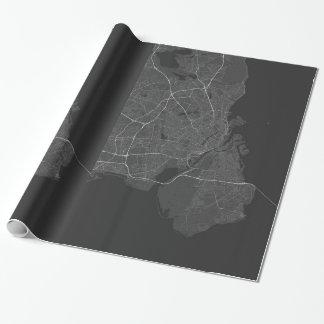 Köpenhamn Danmark karta. (Vit på svart) Presentpapper