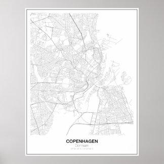 Köpenhamn Danmark Minimalist kartaaffisch (stil 2) Poster