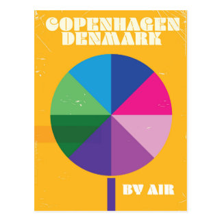 Köpenhamn Danmark vintage resoraffisch Vykort