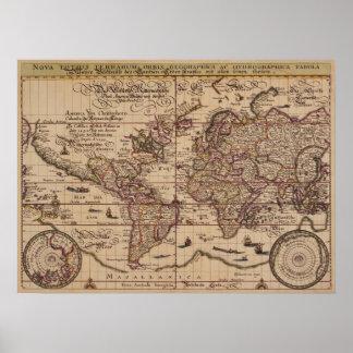"""""""Kopia för århundrade för karta för gammal värld Poster"""