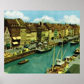 Kopiavintage Danmark, fiskebåtar, Köpenhamn Affisch