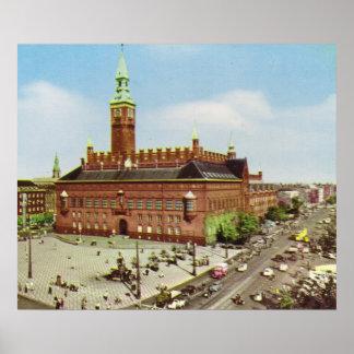 Kopiavintage Danmark Köpenhamn stadshus Print