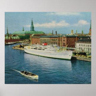 Kopiavintage Danmark, kryssningfrakt, Köpenhamn Affischer