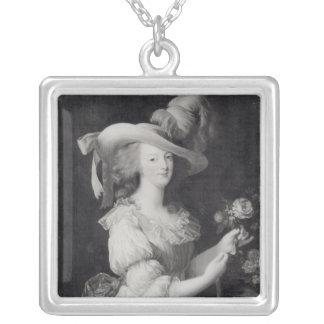 Kopiera av ett porträtt av Marie-Antoinette Silverpläterat Halsband