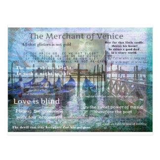 Köpmannen av Venedig Shakespeare citationstecken Vykort