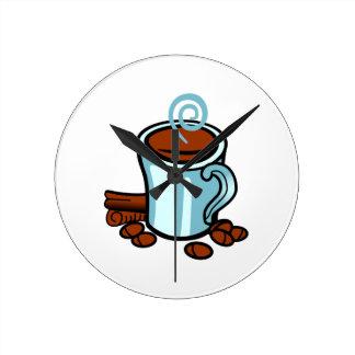 Kopp av kaffe medium rund klocka