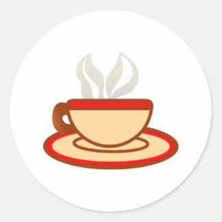 Kopp av kaffe runt klistermärke