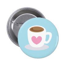Kopp för KÄRLEKKAFFEkaffe med en kärlekhjärta Knappar