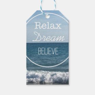 Koppla av den tro drömmen presentetikett