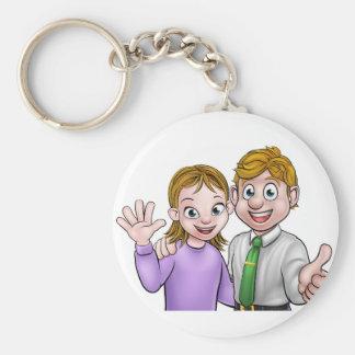 Koppla ihop den tecknadmanen och kvinnan rund nyckelring