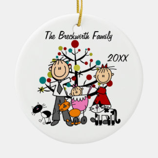Koppla ihop flickan, helgdagprydnad för tre katter julgransprydnad keramik