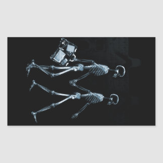 Koppla ihop resanden röntgar visionskelett - blått rektangulärt klistermärke