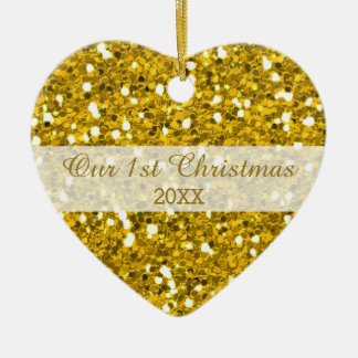 Kopplar ihop den första julen för guld- glitter julgransprydnad keramik