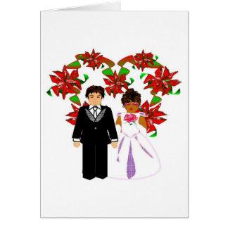 Kopplar ihop Interracial bröllop för jul hjärtakra Hälsningskort