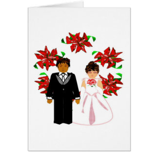 Kopplar ihop Interracial bröllop för jul med krane