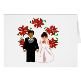 Kopplar ihop Interracial bröllop för jul med krane Hälsnings Kort