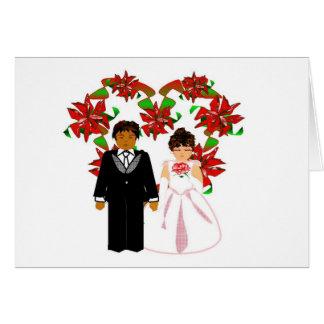Kopplar ihop Interracial bröllop för jul OBS Kort