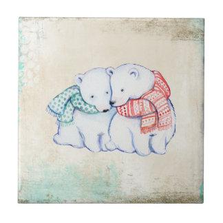 Kopplar ihop polara björnar för tecknad liten kakelplatta