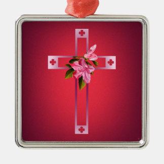 Kor med azaleaen blommar påsk julgransprydnad metall