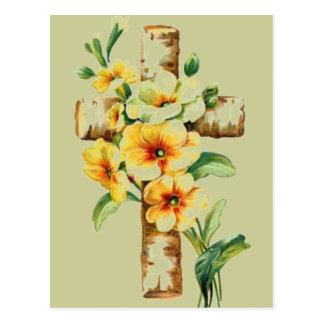 Kor med gula blommor vykort