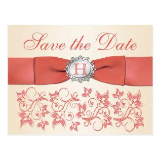 Korall blom- spara för champagne dateravykortet vykort