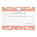 Korall- & gråttdamastbröllop OSA 8,9 X 12,7 Cm Inbjudningskort