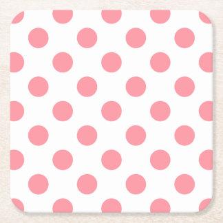Korall- och vitpolka dots underlägg papper kvadrat