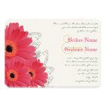 Korall & orange inbjudan för Gerber daisybröllop