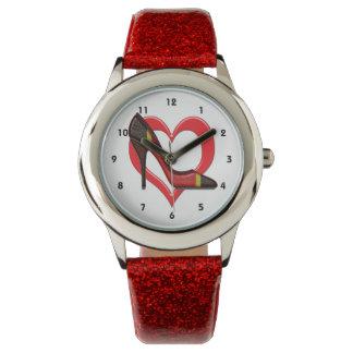 KorallSnakeskin stiletter i hjärta Armbandsur